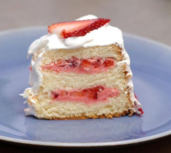 I got this recipe out of a Taste of Home book last summer and I love this recipe. I made it for a BBQ and my daughter requested it as a birthday cake. I've also used strawberries and blueberries for 4th of July celebration. The recipe recommends slicing the cake with a serrated knife. To split the cake into three layers I use dental floss - Makes a nice clean cut.