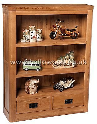 New London Rustic 100% Solid Oak Bookcase / Bookshelves with Two Bottom Drawers