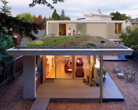 Green roof with slender profile