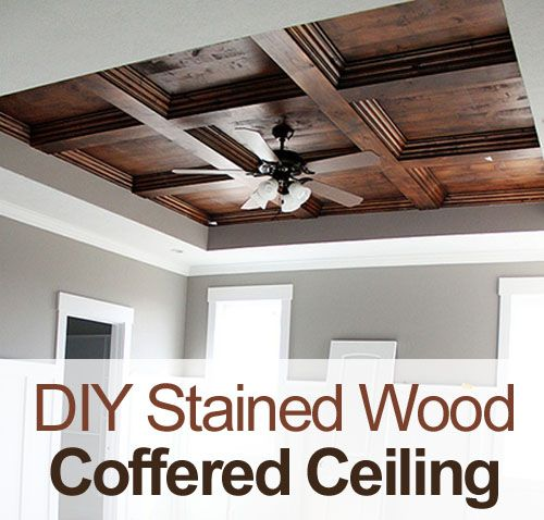 DIY Master Bedroom Stained Wood Coffered Ceiling  #coffered ceiling #stained wood #wood