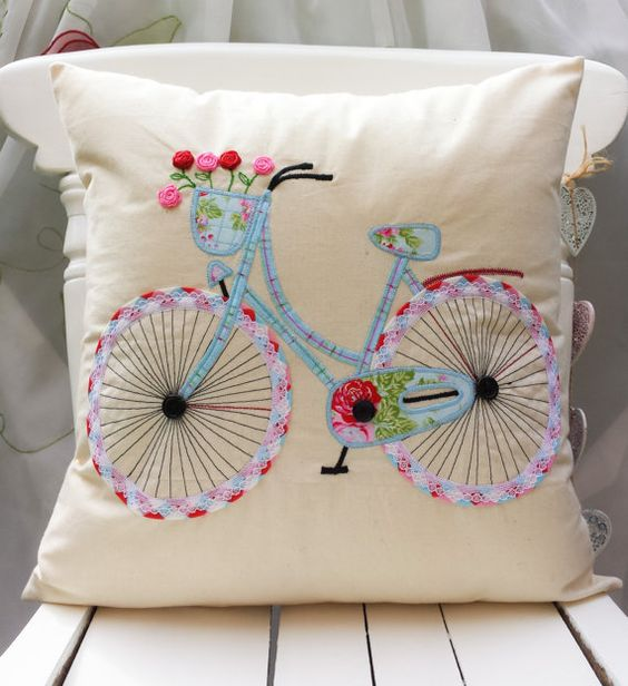 "Bicycle Pillow Cushion cover Cath Kidston Other Fabric Home Décor Unique Handmade Applique Birthday gift 16""x16"":"