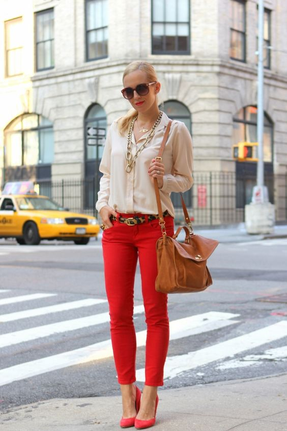 Red Pants + Leopard Belt + Nude Shirt