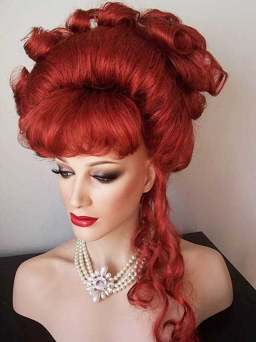 Bright Red Drag Wigs Up Do with curls and tendrils | Drag ... - photo#47