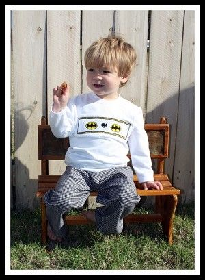 Smocked Batman Pant Set