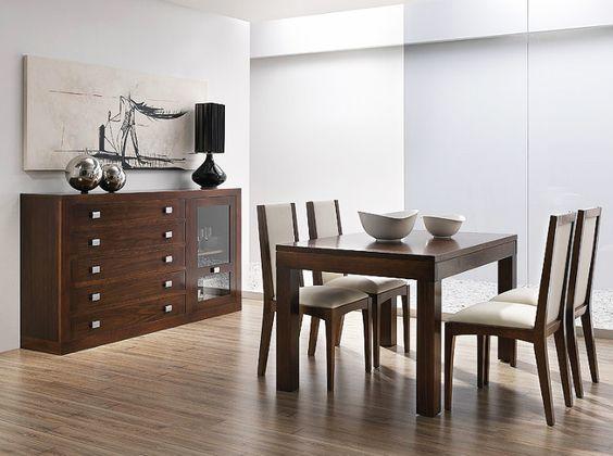 Muebles para sal n realizados en madera de nogal americano for Muebles salon modulares madera