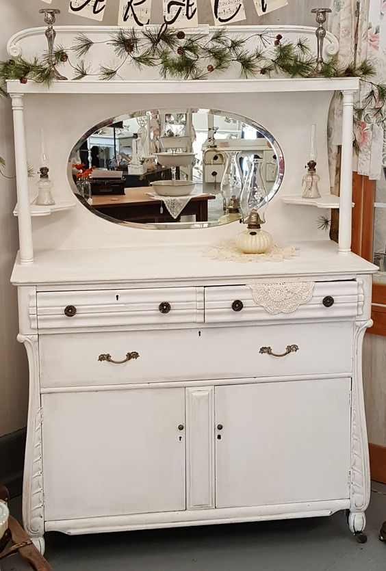 Vintage White Sideboard/Server/Buffet with mirror and shelves. Antique Glaze over white. Available in the shop $800