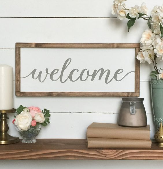 Farmhouse Decor - Welcome Sign - Handmade wood sign, Home Decor,  house warming gift, rustic modern, farmhouse, fixer upper,  magnolia farms
