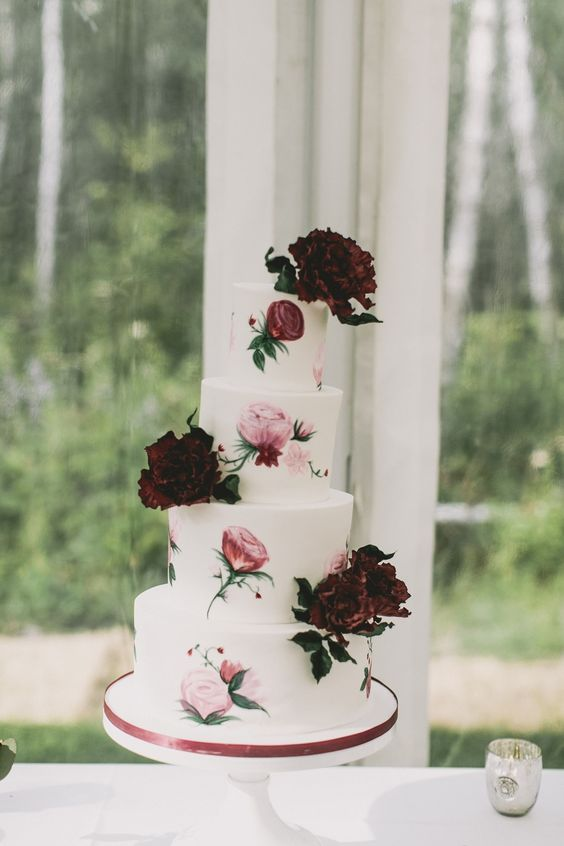 Watercolor roses and peonies. Jenna Rae Cakes. Photography: Josh Dookhie Photography - joshdookhiephotography.com