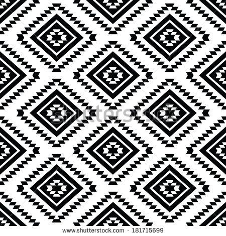 Tribal seamless pattern, aztec black and white background ...