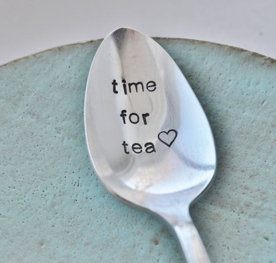 Time for Tea Hand Stamped Vintage Spoon for by jessicaNdesigns
