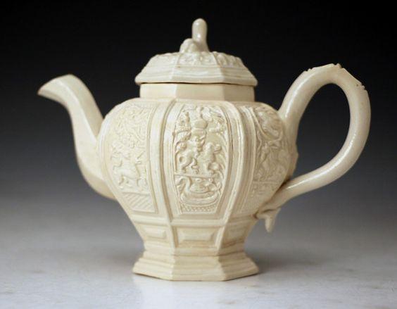 Staffordshire earthenware saltglaze stoneware teapot