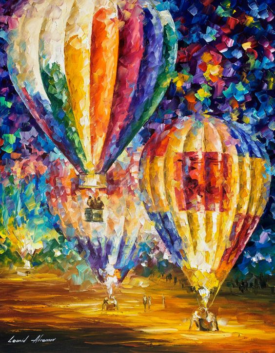 Original Recreation Oil Painting on Canvas This is the best possible quality of recreation made by Leonid Afremov in person. Title: Balloons: