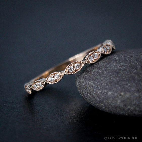 Rose Gold Ehering - Doppel Diamant Milgrain Blatt Ehering - Boho Braut