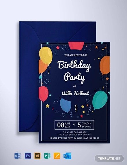 Free Elegant Birthday Party Invitation Template Word Doc Psd Indesign Apple Mac Pages Publisher Party Invite Template Birthday Party Invitation Templates Free Birthday Invitation Templates