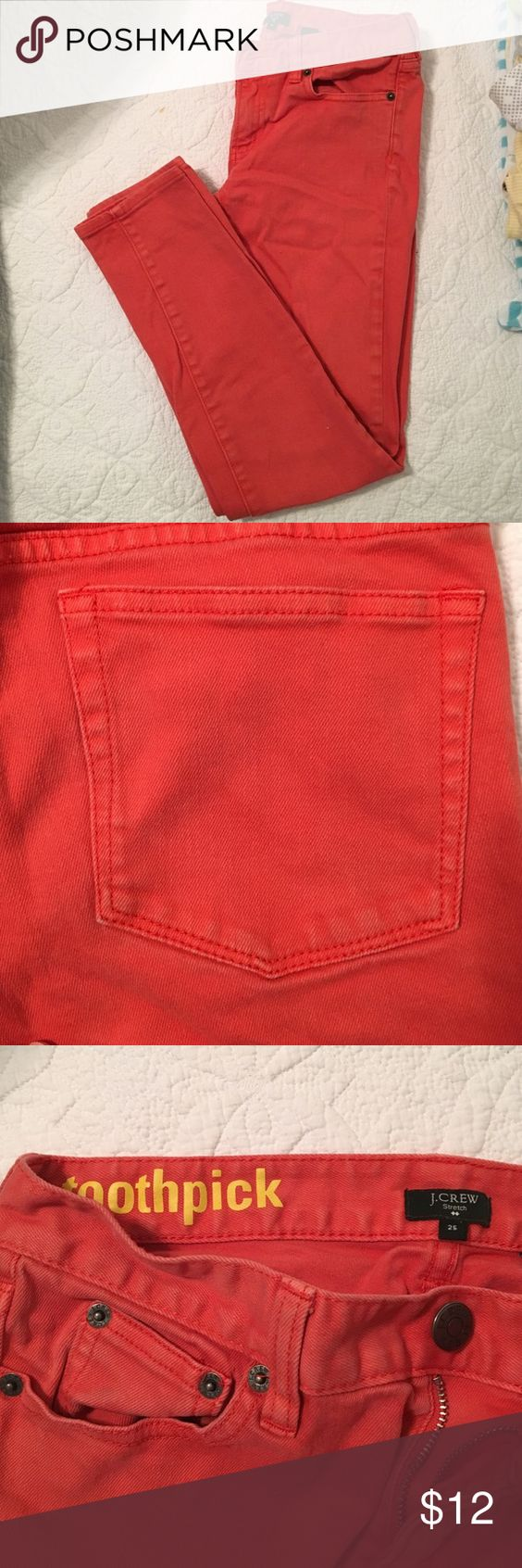Coral J. Crew stretch jeans Used. Great color for fall. Skinny leg that hits at ankle. Size 25 J. Crew Jeans Ankle & Cropped
