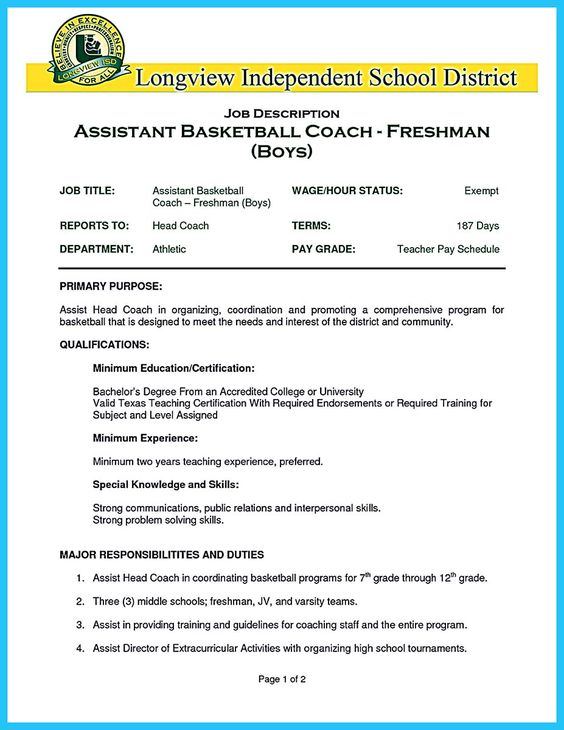 Basketball Coach Resume Template Head Coach Resume Samples Strategist  Magazine  Basketball Coach Resume