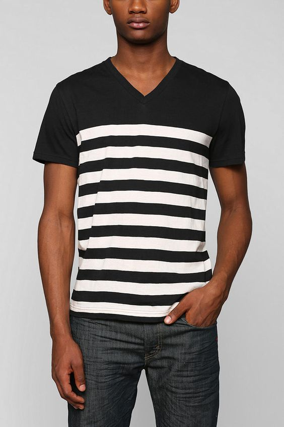 Urban Outfitters | Black BDG Color Block Stripe V-neck Tee for Men | Lyst