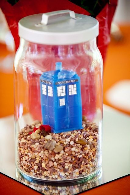 Terrarium wedding centerpieces featuring Doctor Who ~place it somewhere in the wedding decorations and see if anyone notices.