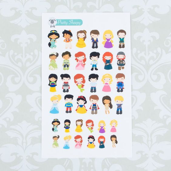 36 Disney Princesses and Princes Stickers! Perfect for your planner, calendar, scrapbook, etc.  Each sheet comes with stickers individually cut and