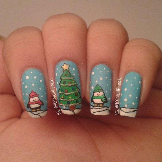penguins christmas by 101nailfreak  #nail #nails #nailart