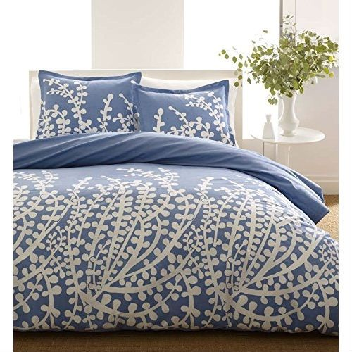 Full Queen 100 Cotton 3 Piece Comforter Set With Blue White Floral Branch Pattern Comforter Sets Cotton Comforter Set Cotton Comforters