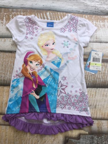 NWT Disney Frozen Elsa Ana Shirt Girls Sz 4 White Purple Short Sleeve Summer Top