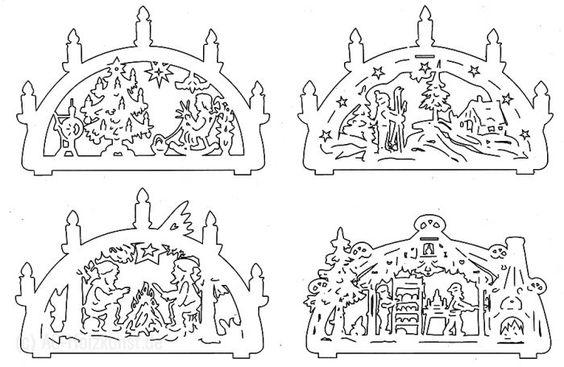Laubsägevorlage 6x Mini-Schwibbogen für doppelten Schwibbogen