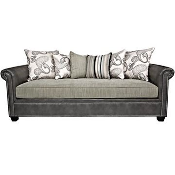 Cobble Hill Sofa In Charcoal Gray Renue Leather And Mist Green Gray Chenille Fantasy Land