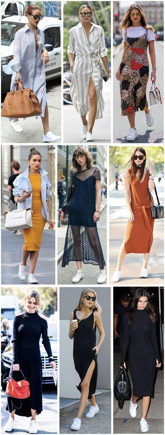 como usar tênis com vestido midi #vestidomidi #tenisbranco #tenis #vestido #moda #estilo #dicasdeestilo #streetstyle #celebridades #looks