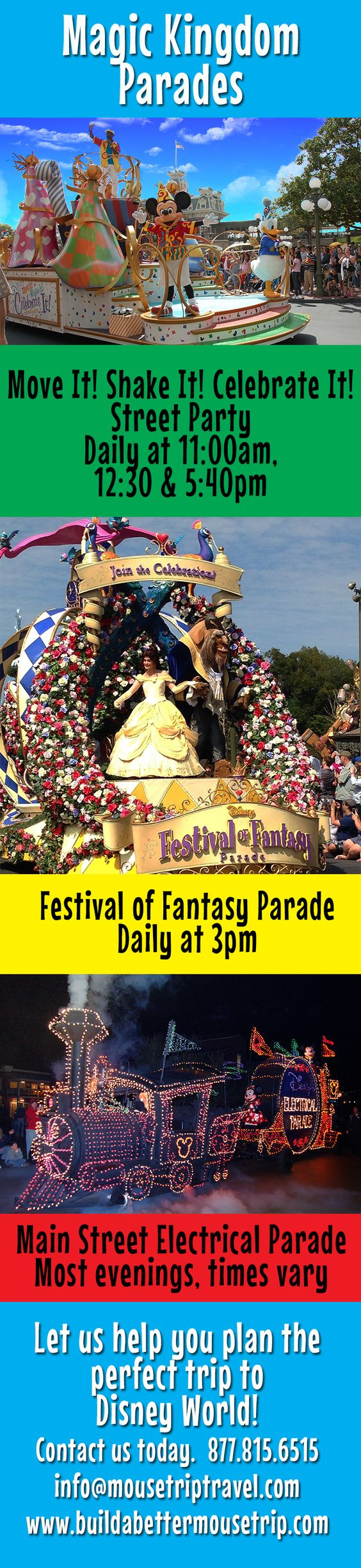 """Magic Kingdom Parade schedule - #Disney World.  Includes """"Move It!, Shake It! Celebrate It!"""", Festival of Fantasy afternoon parade and the Main Street Electrical Parade.  Check Magic Kingdom Times Guide (found near the park maps) for exact schedule during your trip.   For Disney World ride closures, crowd warnings, and special event information, see: http://www.buildabettermousetrip.com/crowds-closures-special-events/ #FestivalofFantasy"""