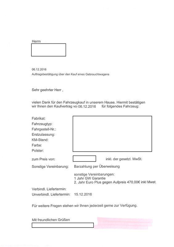 Auftragsbestätigung über den Kauf eines Gebrauchtwagens - kaufvertrag küche pdf