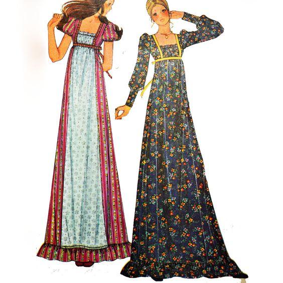 Vintage 70s Maxi Dress Pattern / McCalls 3898 Bohemian Party Dress ...