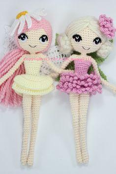Muster 2-PACK: Althaena und Chrysanna Märchen häkeln Amigurumi-Puppen