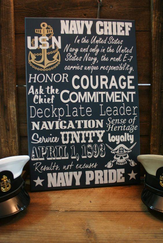 Navy Chief CPO Collage Subway wall Sign. $75.00, via Etsy.