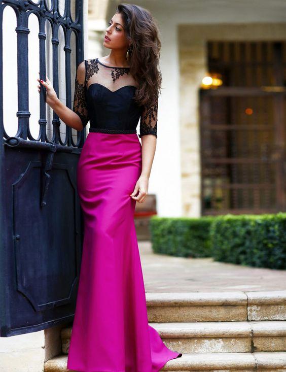 Nova tendência Sheer colher pescoço aberto vestido longo Sexy vestido de noite até o chão 2016 Hot venda rendas Prom vestido(China (Mainland))