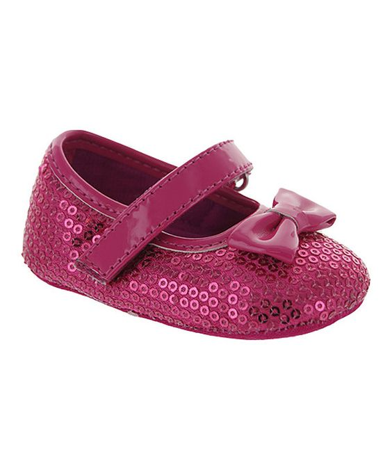 Look at this Laura Ashley Fuchsia Patent Sequin & Bow Mary Jane on #zulily today!