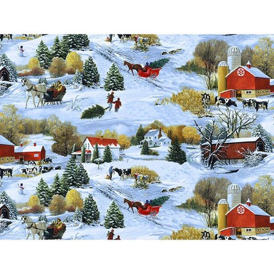 Fat Quarter Scenic Reindeer and Sleigh Black Christmas Quilting Fabric  Makower