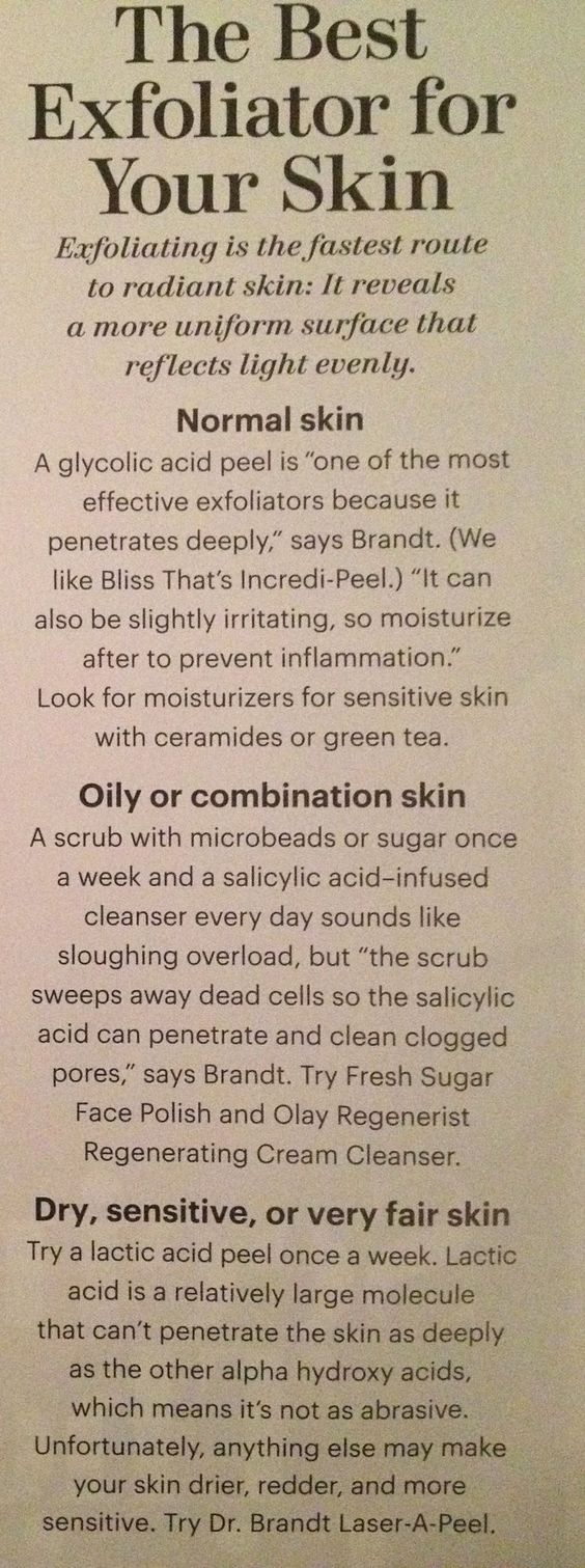 Different types of acid for different skin type