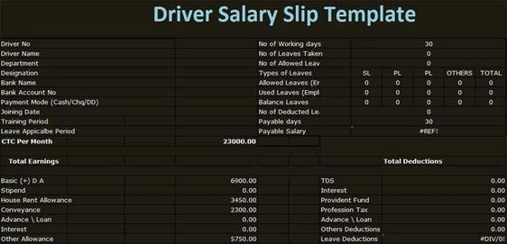 Download Driver Salary Slip Template Excel format in excel for - employee salary slip sample