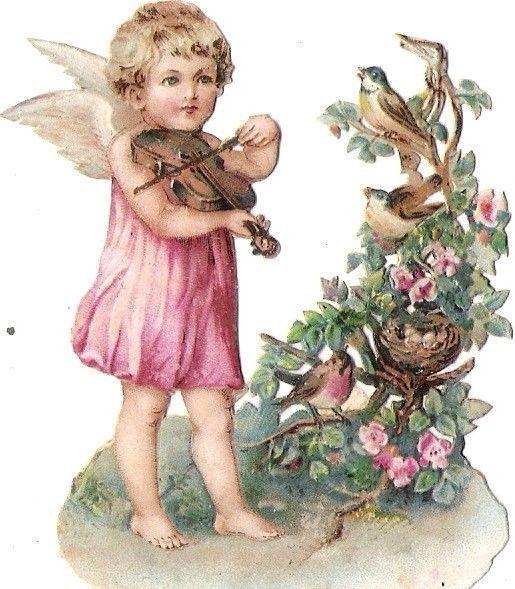 Oblaten Glanzbild scrap die cut chromo Engel angel Elfe Geige Violine Vogel Nest: