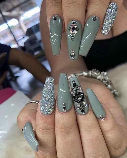 Coffin Nails With Rhinestones And Glitter Nail Art Designs 2020 In 2020 Rhinestone Nails Nail Art Designs Fall Nail Art Designs