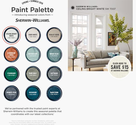 West Elm Paint Palette By Sherwin Williams Ceiling Bright
