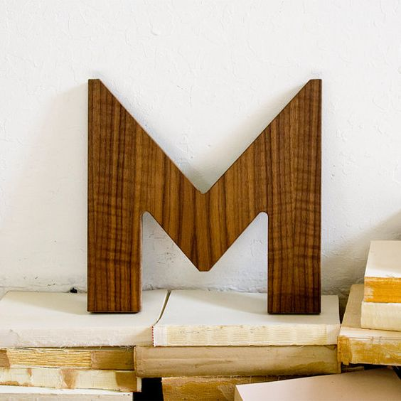 Letter M Wall Decor walnut+wood+letter+m+wall+decor+by+edieslab+on+etsy,+$28.00