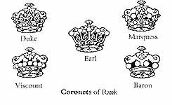 Coronet There are five different coronets of rank which may surmount the arms of British peers. The so-called ducal coronet, used either with or instead of a crest wreath, implies no rank, and the term crest coronet is preferred today