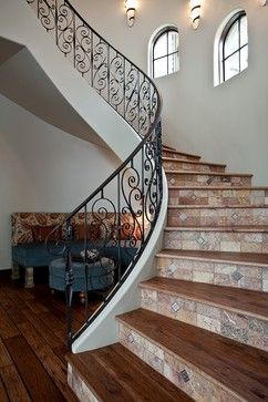 Stairs With Wood And Stone Tile Tile Risers Design Ideas