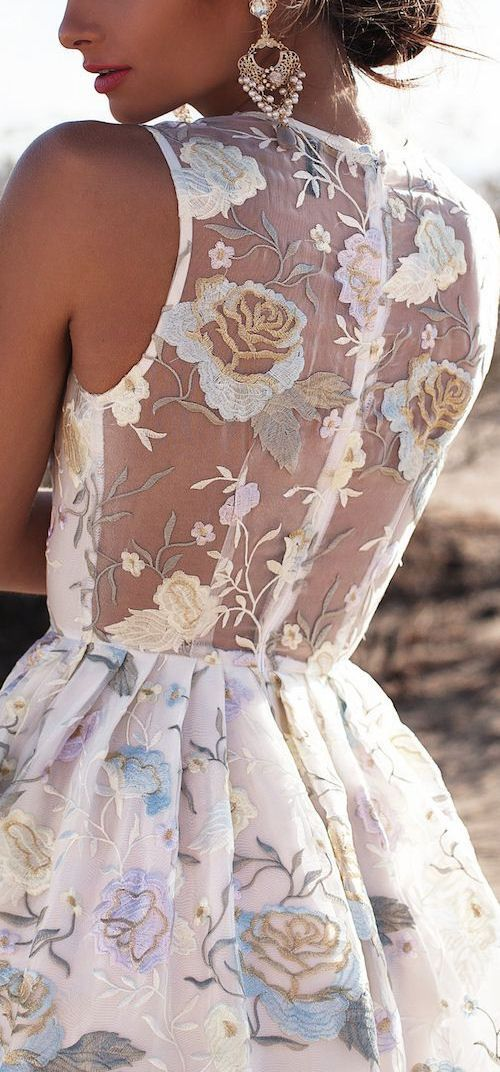 Sheer Floral Lace Dress ❤︎
