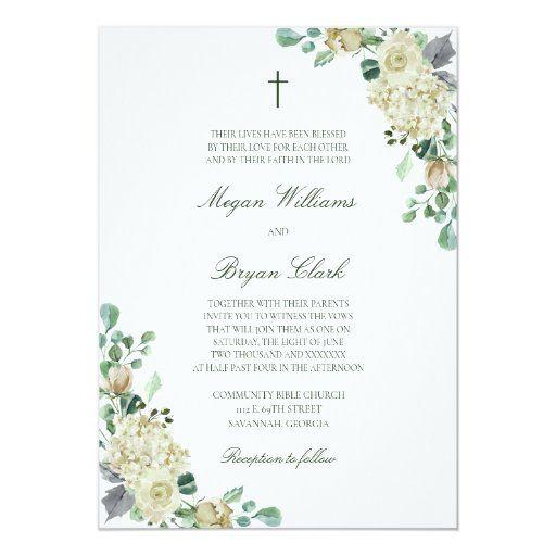 Megan White Roses Greenery Christian Wedding Invitation Zazzle Com Christian Wedding Invitations Catholic Wedding Invitations Christian Wedding