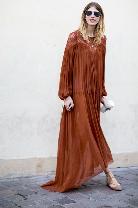 chiffon maxi dress- Paris Fashion Week #StreetStyle 2015