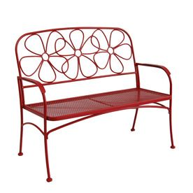 Garden Treasures 43 63 In L Steel Iron Patio Bench Lowes