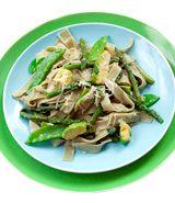 Artichoke Ribbon Pasta with Asparagus, Snap Peas and Avocado | Recipe ...